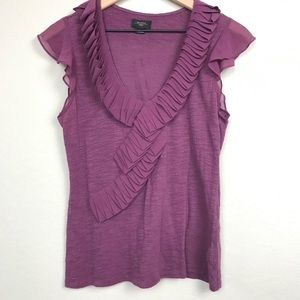 Anthropologie Deletta Plum Ruffle Front Top M